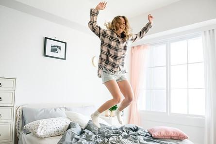 Waking up feeling great jumping on the bed