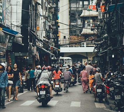 Traffic chaos in Vietnam. No running here.