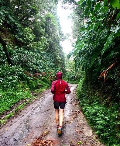 trail running in hoka mafate speed 2 shoes